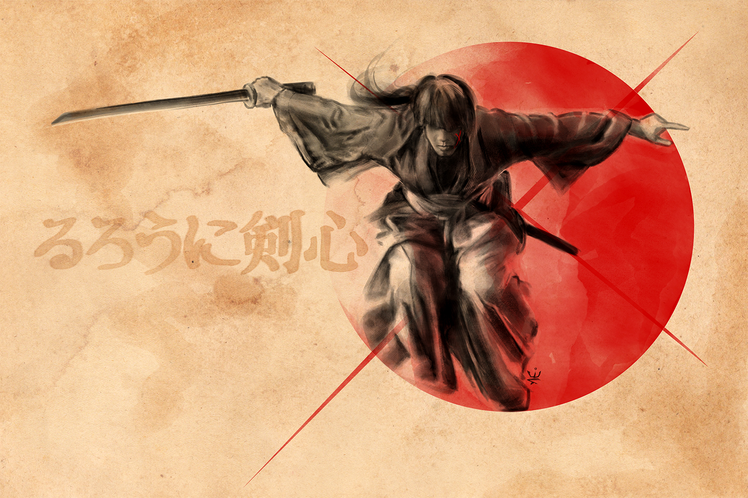 Rurouni Kenshin (ink style) by Esther Wagner