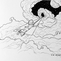 Inktober 10: On the wings of fantasy (c) Esther Wagner)