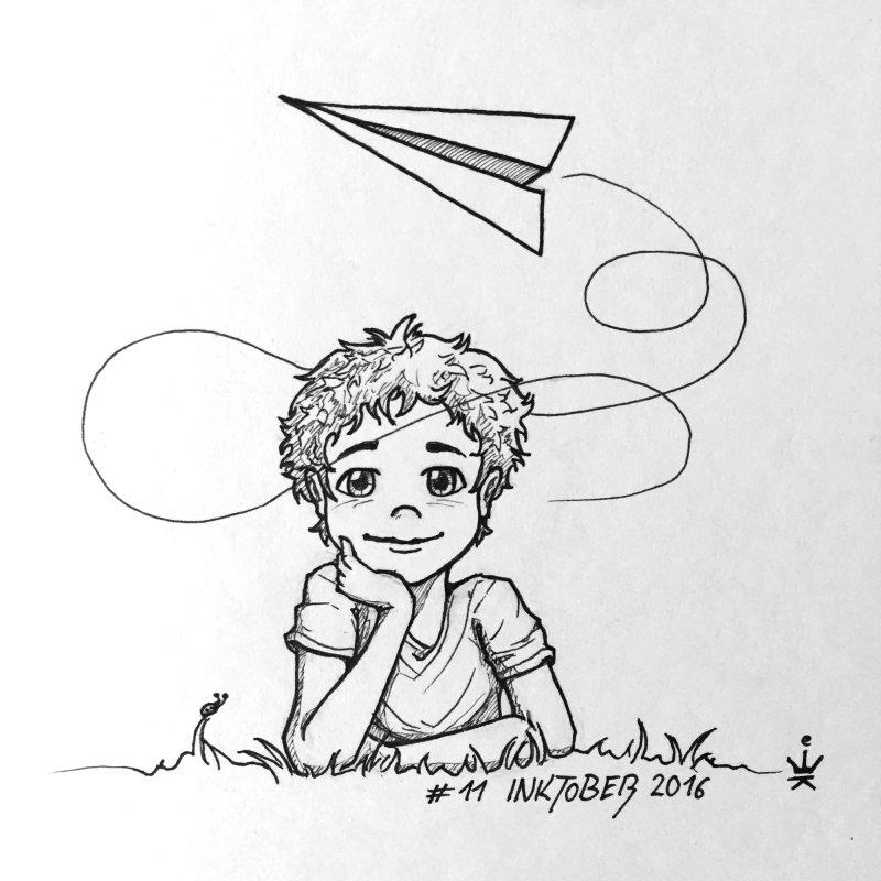 Inktober11 - Paper plane dreams (c) Esther Wagner