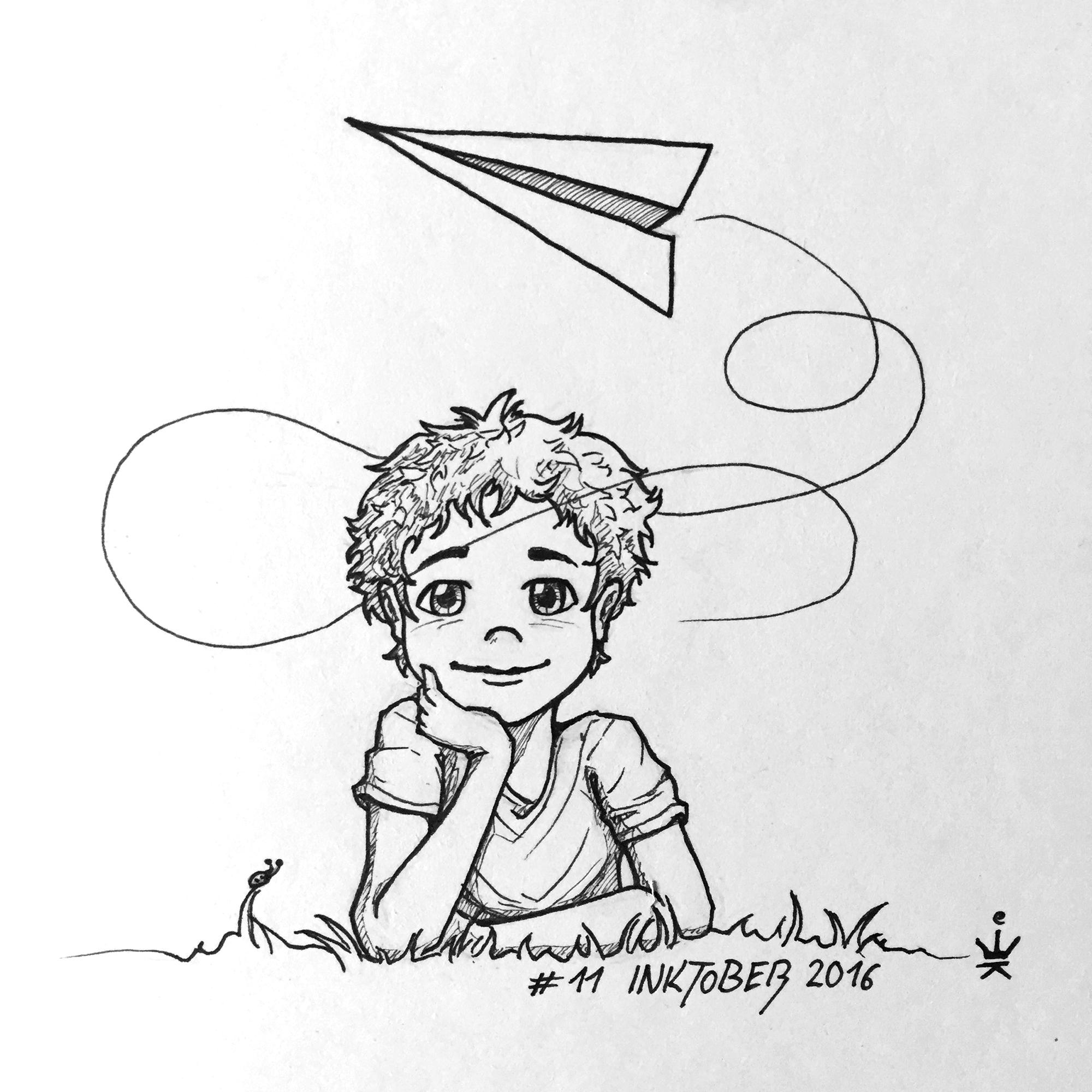 Inktober 11 - Paper Plane Boy (c) Esther Wagner