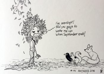 Inktober 2016 - 14: Grumpy wood fairy (c) Esther Wagner