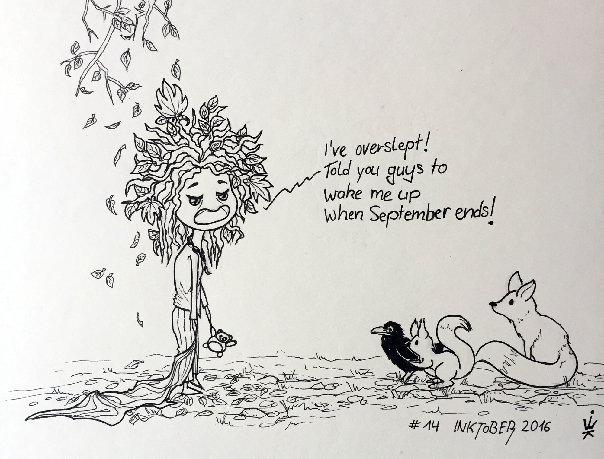 Inktober 2016 - 14: Grumpy wood fairy (c) Esther Wagner