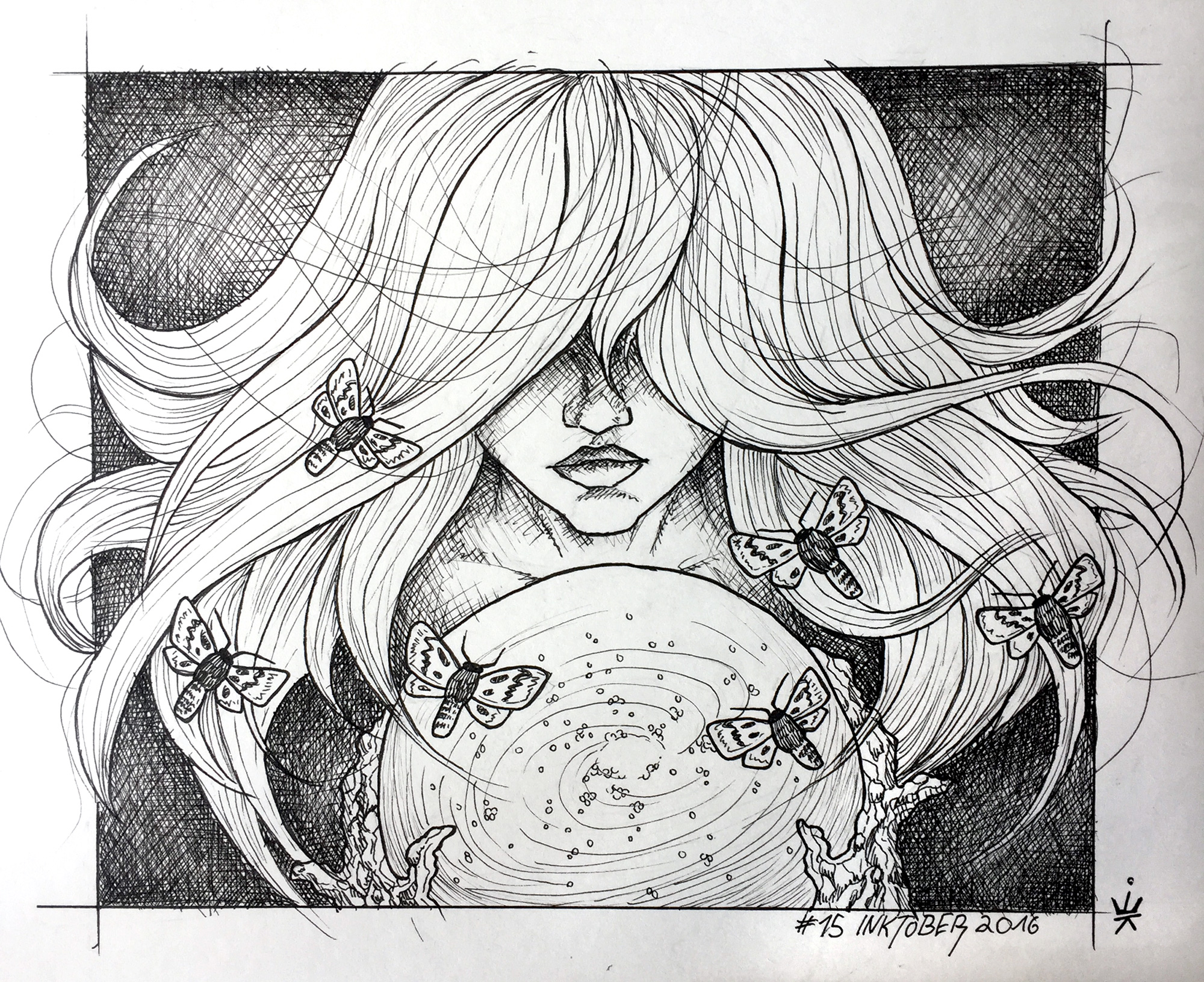 Inktober 2016 - 15: Crystal ball (c) Esther Wagner