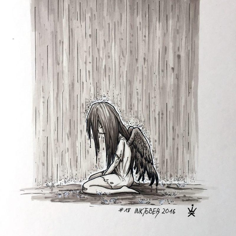 Inktober 2016 - 18: Heaven is weeping (c) Esther Wagner