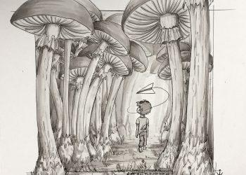 Inktober 2016 - 19: Mushroom forest (c) Esther Wagner