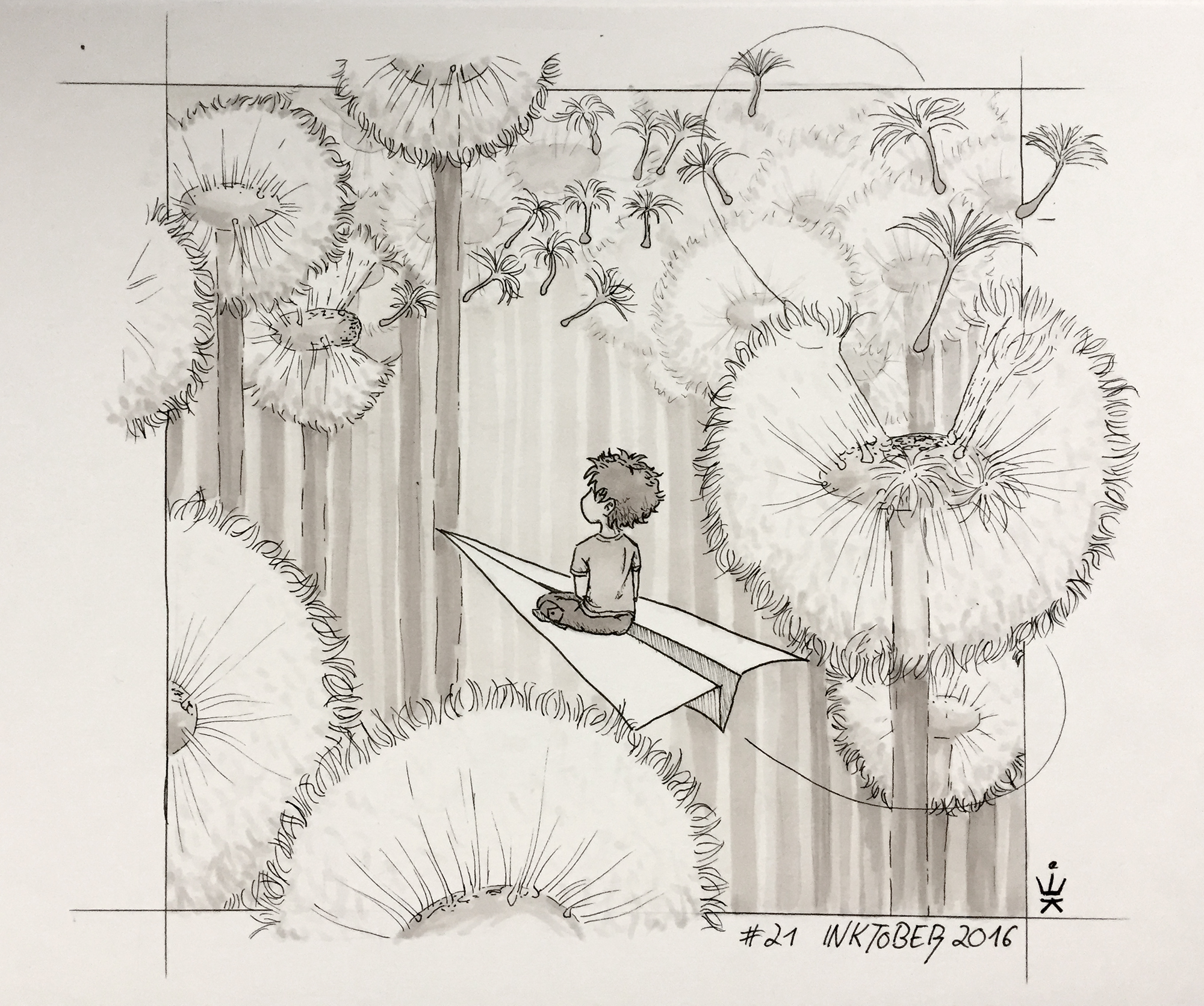 Inktober 21: Grove of wishes (c) Esther Wagner