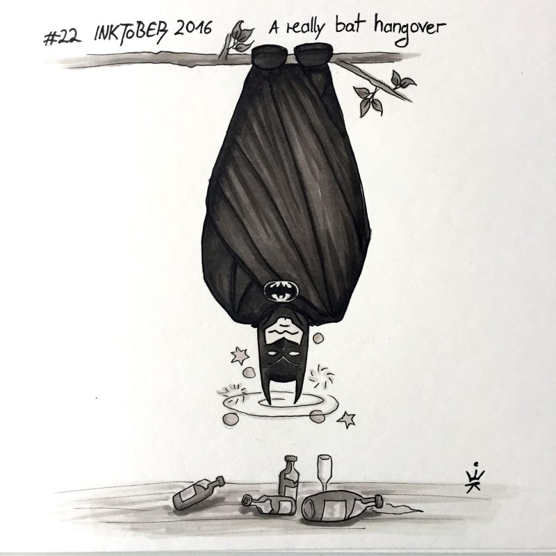 Inktober 2016 - 22: A really bat hangover (c) Esther Wagner