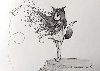 Inktober 2016 - 25: Foxchild (c) Esther Wagner