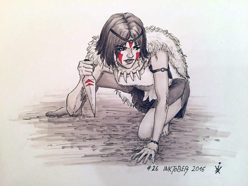Inktober 2016 - 26: Mononoke Hime