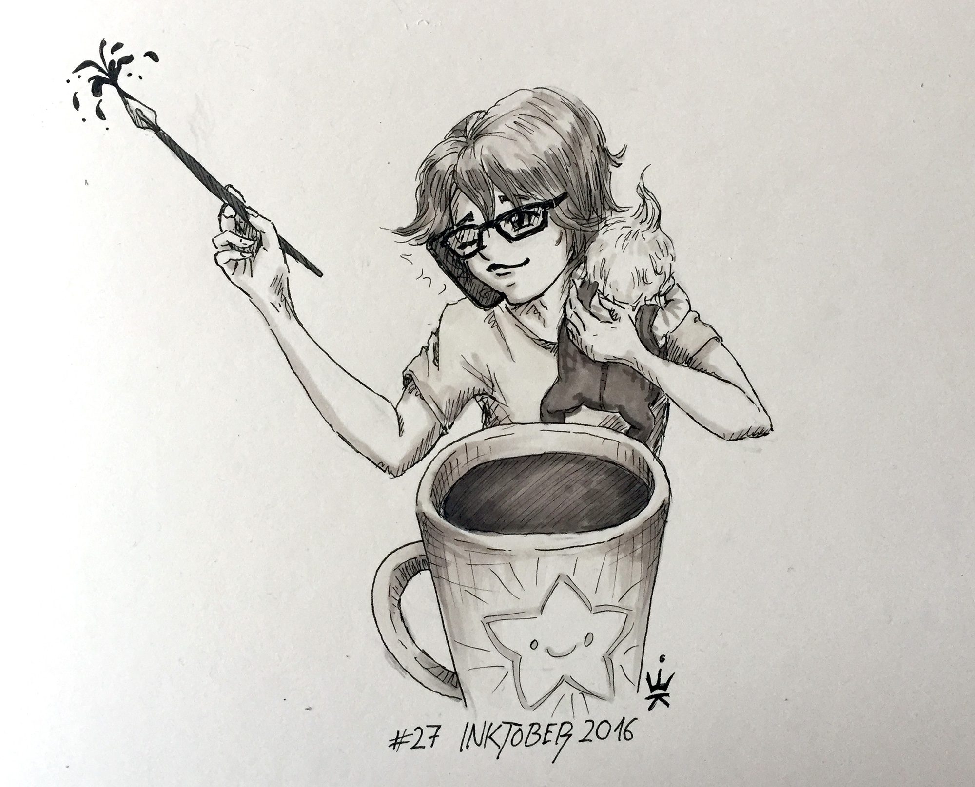Inktober 2016 - 27: Self portrait (c) Esther Wagner
