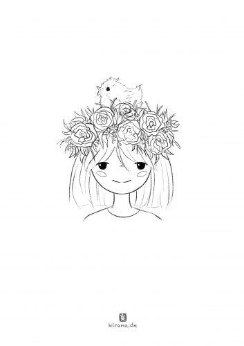 Frühling Ausmalbild (c) Esther Wagner
