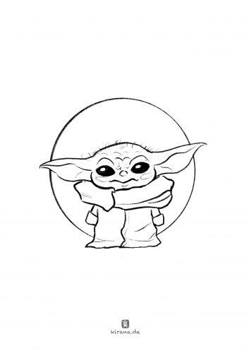 Baby Yoda Ausmalbild