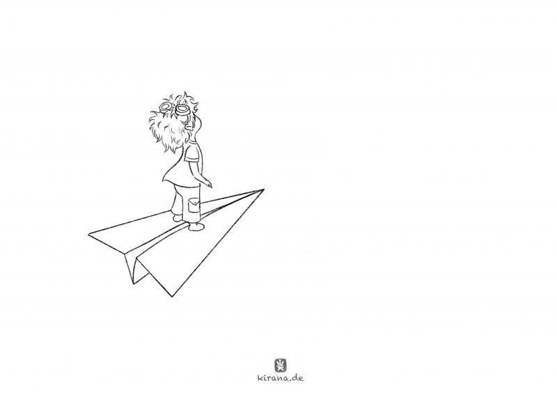 Ausmalbild: Paper Plane Boy (c) Esther Wagner